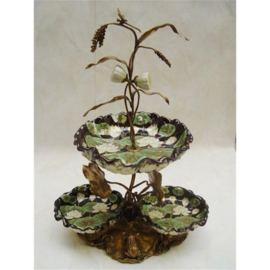 Bronzen gecombineerd met porseleinen fruitschaal