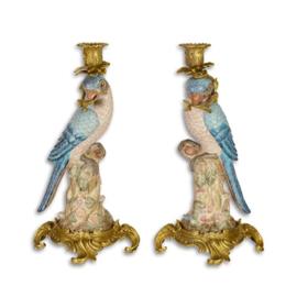 Porseleinen papegaai kandelaars met brons