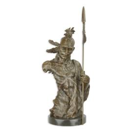 Bronzen torso Indiaan Mohikaan beeld met speer