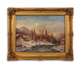 Olieverfschilderij met een winterlandschap afbeelding