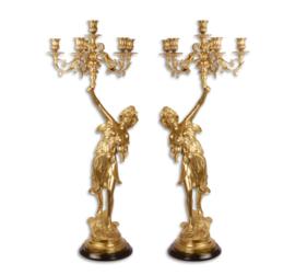 Set zesarmige bronzen vergulden kandelaars