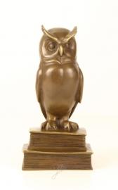 Bronzen  beeld van de wijze uil