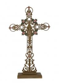 Gietijzeren Kruis Maria met Rozen.