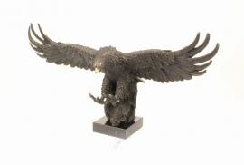 Bronzen beeld van een adelaar in glijvlucht