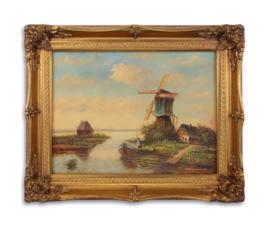 Olieverfschilderij met een landschap afbeelding