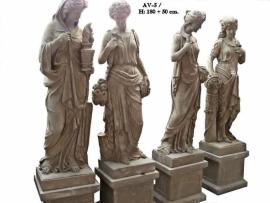 Vier jaargetijden standbeelden op sokkel
