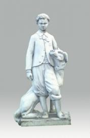 standbeeld man met hond