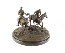Bronzen beeld van twee Kozakken te paard