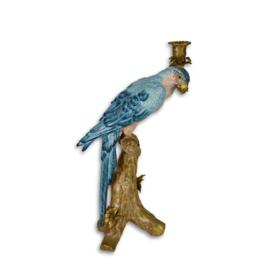 Bronzen porselein papegaai kandelaar