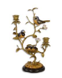 Porseleinen kandelaar met vogeltjes met brons