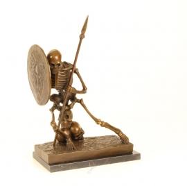 Bronzen skelet-geraamte boekensteun