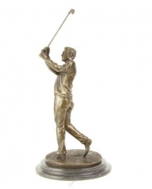 Fraaie bronzen beeld van een golfer.