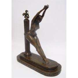 Bronzen erotische boekensteun Gevangene van liefde