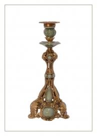Mooie kandelaar met porseleinen en bronzen accenten