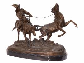 Bronzen beeld van een paardentemmer