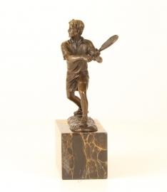 Bronzen  beeld van tennisspeler