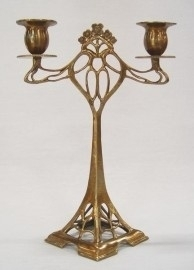 2 arms art nouveau kandelaar
