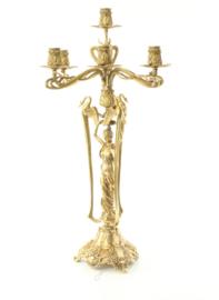 bronzen Art niveau kandelaar met zeven  kaarsenhouders