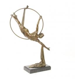 Bronzen beeld mannelijke hoepel sjaal danser