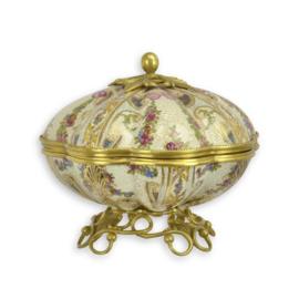 Mooie bronzen porseleinen koekjestrommel