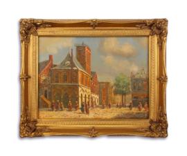 Olieverfschilderij met een straat afbeelding