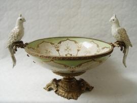 Porselein fruitschaal met bronzen voet