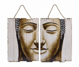 A PAIR OF HANDPAINTED DEPICTIONS OF A BUDDHAS HEAD ON WOOD