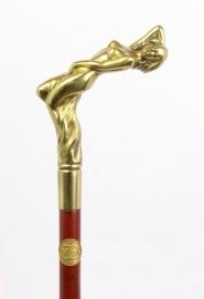 Houten wandelstok met bronzen erotische handvat