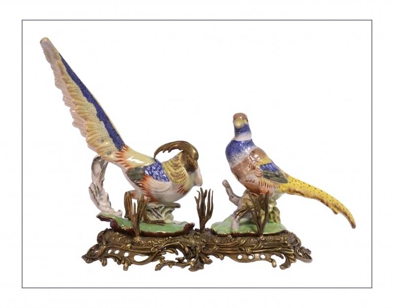 Porseleinen fazanten afgewerkt met brons