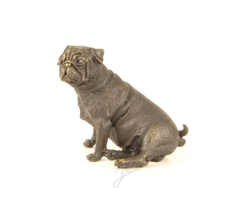 Bronzen beeldje van Franse bulldog