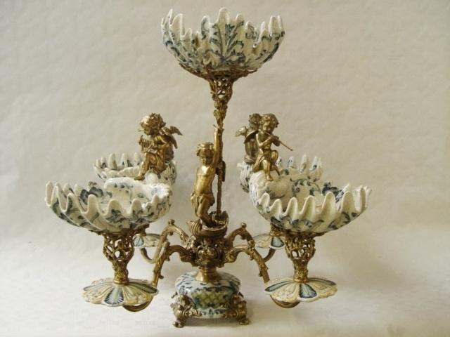 Bronzen porselein middenstuk (EPERGNE)