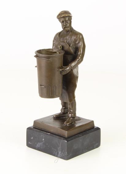 Brons beeld vuilnisman te gebruiken als pennenhouder