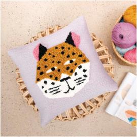 Rico Design Punch Needle Kit - Pillow - Leopard