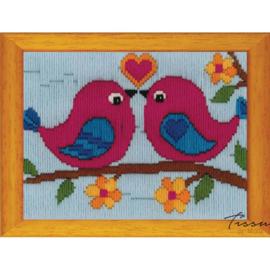 Borduurpakket kids Twee Vogeltjes