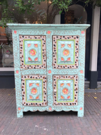 Hand-painted turquoise cabinet