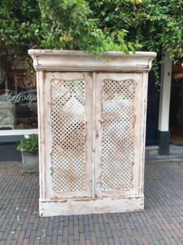 Hand painted cabinet with mirror
