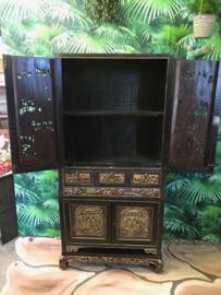 Black wood carving cabinet