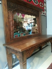 Indonesian side table with mirror