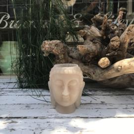 Buddha waxinelichthouder klein beige