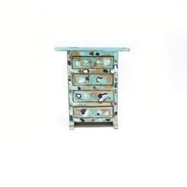 Kastje turquoise met handgeschilderde stippen