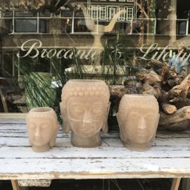 Buddha candle holder beige middle