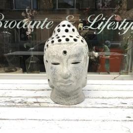 Buddha hoofd met gaatjes grijs
