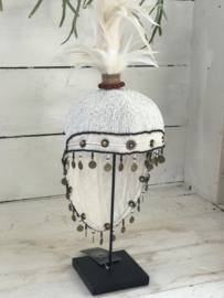 Decoration hat with feather white