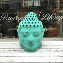 Buddha head with little holes Turquoise large