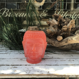 Buddha waxinelichthouder middel oranje