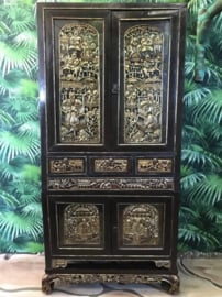 Black wood carving cabinet