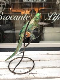 Vogeltje met kaarsenstandaard turquoise/goud