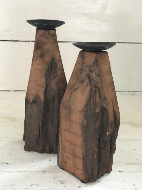 Wooden candle holder big