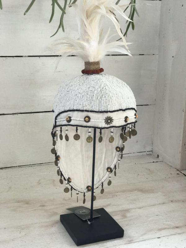 Decoratie hoed met veren wit