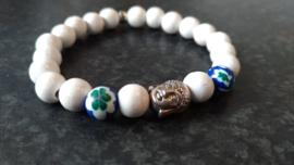 Bohemian armbandje met Boeddha kraal-blauw
